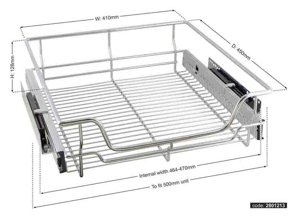 Chrome pull out wire baskets with soft close runners -