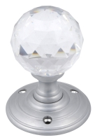 Satin chrome crystal mortice knob