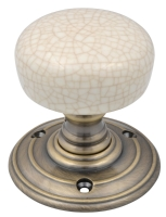 Ivory crackle Winchester knob with flor ...
