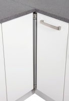 Brushed steel corner bar hinge