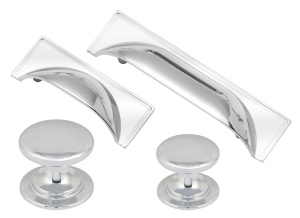 Windsor polished chrome cup handles and matching knobs collection