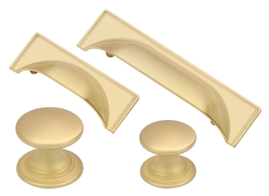Windsor satin brass cup handles and matching knobs collection