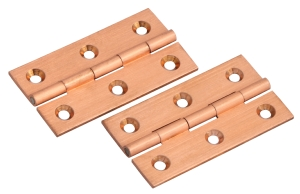 Satin copper solid brass butt hinges