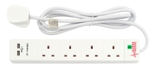 2M extension lead with USB ports