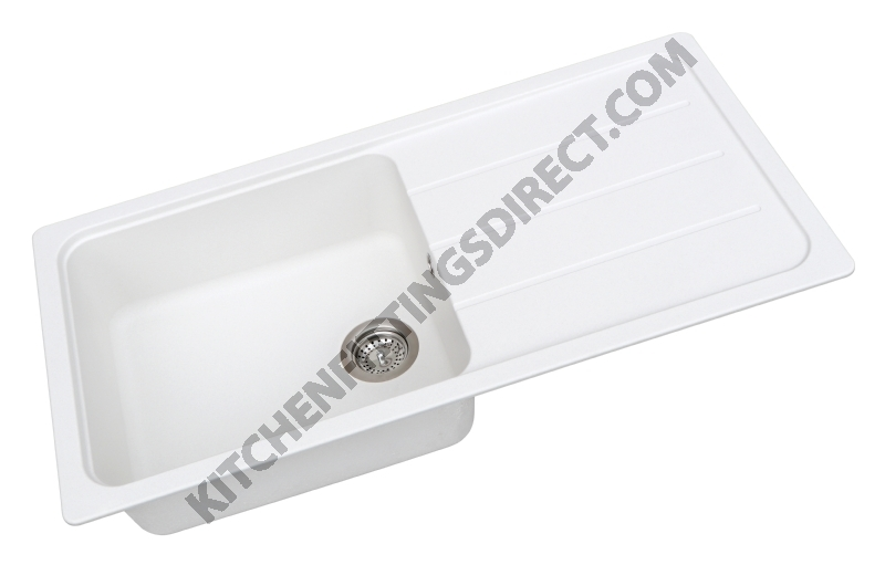white composite single bowl sink