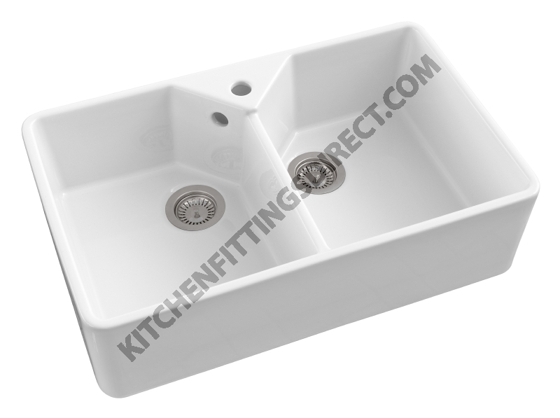 white ceramic double bowl Belfast sink