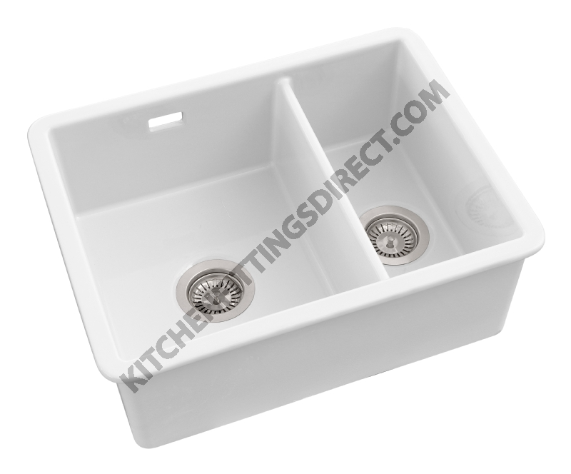 White Ceramic Undermount 1 1/2 Bowl Sink