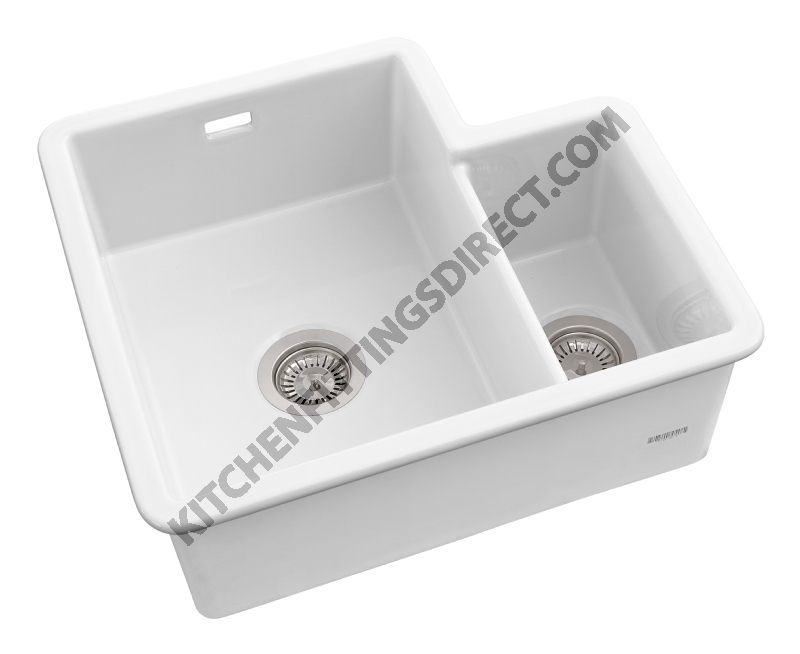 White Ceramic Undermount 1 1/3 Bowl Sink