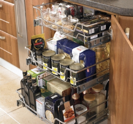 In -Situ Soft -Close Chrome Basket For Internal Kitchen Cupboard Storage