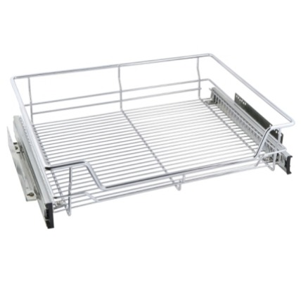 Non Soft -Close Chrome High Line Basket For Internal Kitchen Cupboard Storage